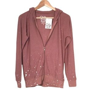 NWT Chaser Dusty Rose Paint Splatter Design Hoodie So Soft Size Small